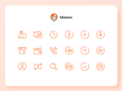 Melani - Online Banking Chatbot - Icon set hackaton user experience design user interface design online banking app concept uba design graphic design diseño gráfico iconography icon