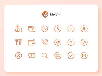 Melani - Online Banking Chatbot - Icon set