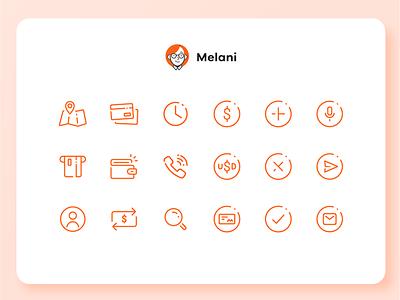 Melani - Online Banking Chatbot - Icon set hackaton user experience design user interface design online banking app concept uba design graphic design diseño gráfico iconography icon