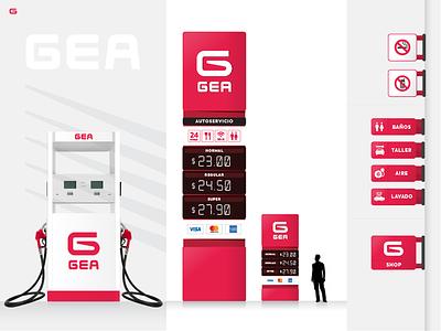 GEA - Gas Station - Visual Identity marca diseño de logo logo design diseño visual identity fuel gas station estación de servicios service station logo branding uba design diseño gráfico graphic design