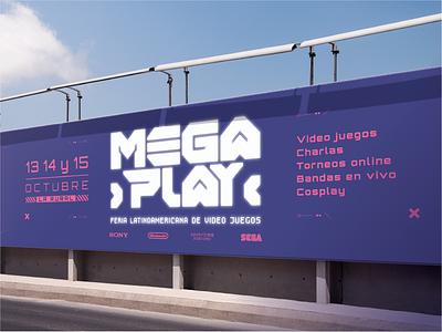 Megaplay - Latin American videogame fair design street advertising advertising convention videojuegos feria de videojuegos fair event videogame game typography vector brand logo branding uba design diseño gráfico graphic design