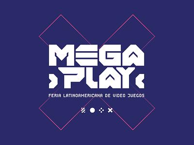 Megaplay - Latin American videogame fair - brand design arcade videojuegos videogames games evento efímero diseño de logotipo typography vector marca brand logo branding uba design diseño gráfico graphic design