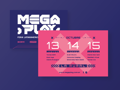 Megaplay - Latin American videogame fair - flyer design flyer design evento efímero videojuegos games videogame invitation design flyer typography vector marca brand logo branding uba design diseño gráfico graphic design