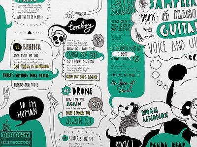 Vinyl Design - Panda Bear - Tomboy (inside) cover artwork cover design cover vinyl cover vinyl music typography illustration brand branding uba design diseño gráfico graphic design