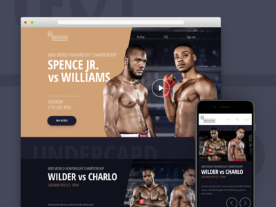 ITV Box Office boxing dark sport website landing page promo card packages video carousel layout