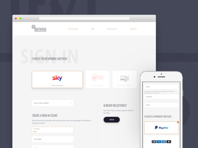 ITV Box Office Registration Form create account sign up payment registration input clean form ui