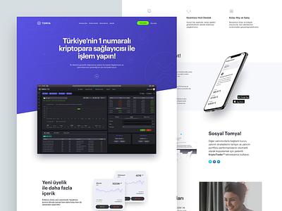 Tomya LP V1 ui sketch minimal landingpage investment branding exchange cryptocurrency blockchain