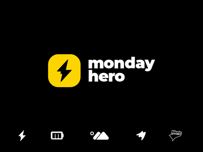 Monday Hero motion principle animated concept visual identity trending london branding flatdesign software san francisco yellow energy startup logodesign