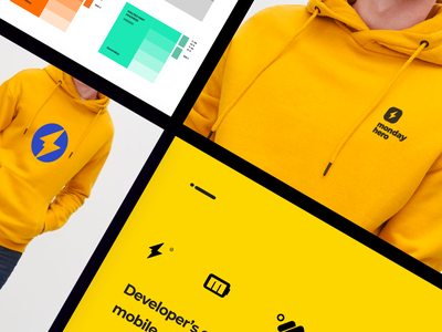 Monday Hero - Logo Applications print design merchandise monogram sketch color scheme logodesign startup trending ui branding color palette