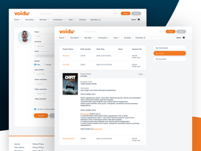 Voidu Redesign Account Pages landing pc mobile bootstrap responsive buy ecommerce sketch gaming ui