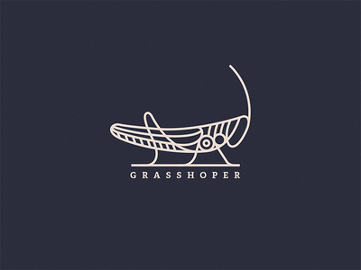 Project Grasshopper grasshopper bug cricket steampunk earth animal stroke logo line insect