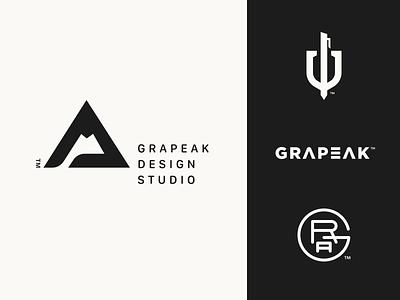 Grapeak Design Studio Logo Explorations mountain peak butique print typography custom logotype minimal black symbol monogram logo