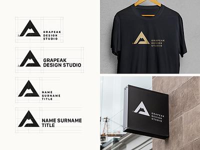 Grapeak Design Studio Logo Final butique print typography custom logotype minimal black studio symbol monogram logo