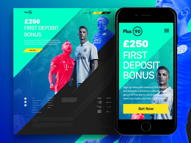 Plus90 Landing Page studio play gaming gambling webdesign sketch dynamic landing uk football sports