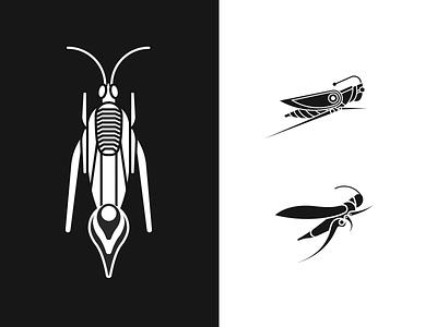 Cricket Symbol Iterations simple monogram insect bug cricket locust animal symbol logo