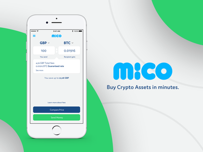 Mico App smart fancy screen transfer banking currency exchange bitcoin appdesign