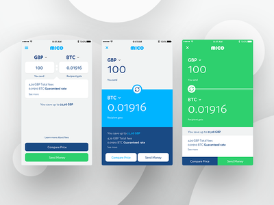 Mico Concepts smart fancy screen transfer banking currency exchange bitcoin appdesign