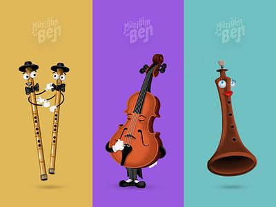 Music App for Kids cute funny digitalart ipad drawing characters illustration kids app music