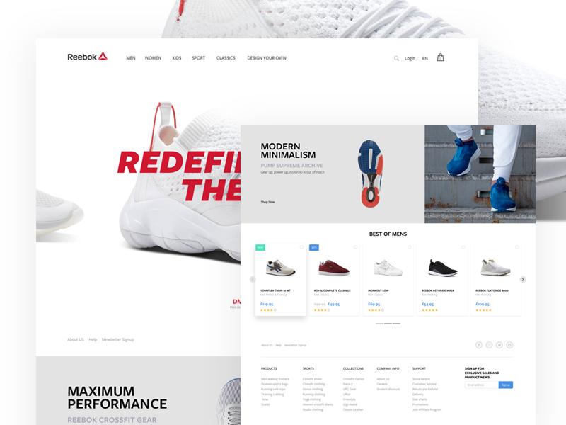 Reebok UK Homepage principle single page landing clean sale minimal redesign e-commerce shoe retail sports