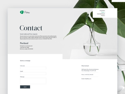 Contact Page layout london startup fintech banking website white minimal clean contact