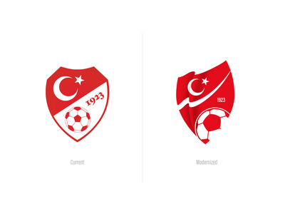 Turkish Football Federation Logo simple red flag modern turkey redesign rebranding crest football soccer logo sports