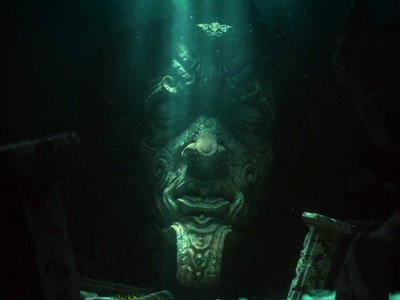 Hope - CGI Underwater Scene fantasy statue mythological mythology hero poseidon fish ocean water waves underwater magical mystery mystical dark cinematic 3d art illustration 3d illustration 3d