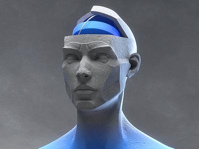 Beautiful Mind cgi cg cinematic lighting stone texture 3d illustration illustration animation bust head sculpt blue gradient statue 3d art 3d