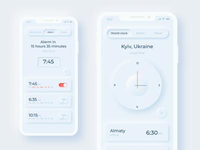 Neumorphism UI -Clock design
