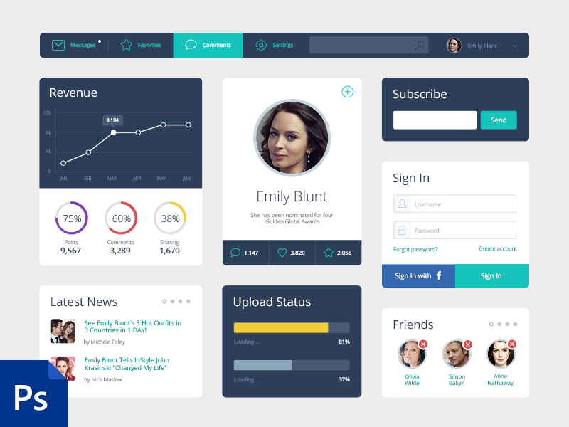 Free Flat UI Kit  tm user interface flat ui ui kit admin panel dashboard freebie widgets stats login chart psd