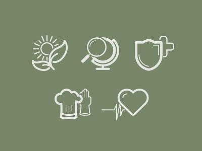 Icons icons icon heart sun shield globe glove chef leaf