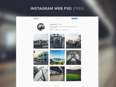 Instagram Web Free ui layout psd template free web instagram