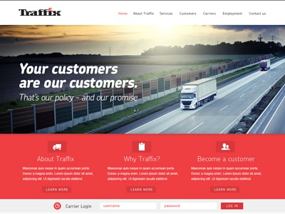 Traffix WIP website homepage red truck clean icons