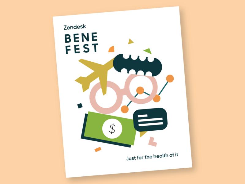 Benefest color block shapes health poster benefits illustration