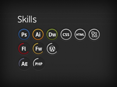 Skills (Dark) skills circle dark dark design adobe data visualisation portfolio data visualization