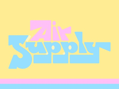 Air Supply rock yacht band vintage design retro yellow pink blue supply air lettering typography type 70s music