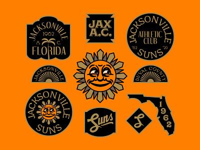 The New Jacksonville Suns concept brand design silent film florida script duuuuuuval sports art deco vintage retro 1910s gold black orange badges logo baseball suns jacksonville