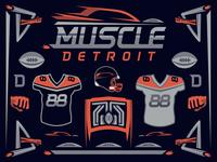XFL Detroit Muscle Logo Sheet