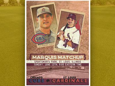 DGP: Sunday Night Baseball/ 20's sports poster cubs cardinals molina rizzo baseball 20s
