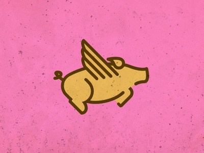 When Pigs Fly wings pig illustration line brand