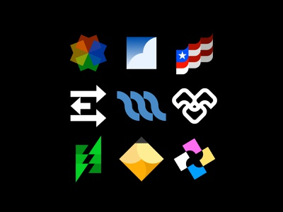 Logoset icon arrow cloud face lightning bolt design electric x pencil m e flag tree sky color logo