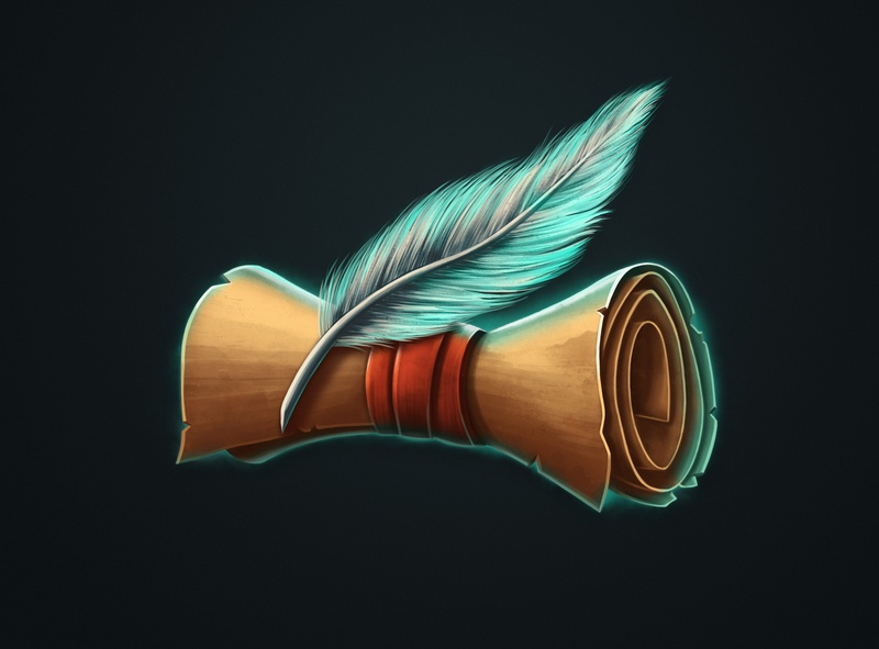 Ancient scroll with feathe dmitry krino game art game icon icon 2d illustration feather scroll