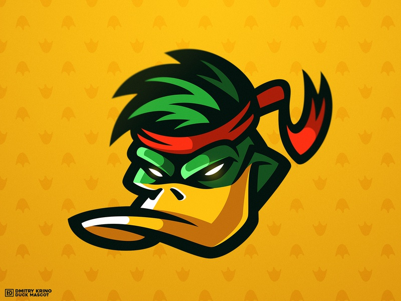 Ninja Duck Head dmitry krino karate animal bird angry bird angry 2d art ninja mascot logo design ninja duck