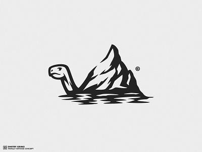 World Tortoise Logo Concept 2 2d art 2d see creature animal ocean water logo turtle reptile dmitry krino tortoise world