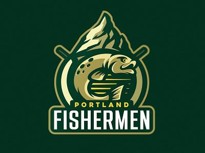 Portland Fishermen mascot logo mascot dmitry krino portland hunting scout nature fisherman fishing mountains salmon fish