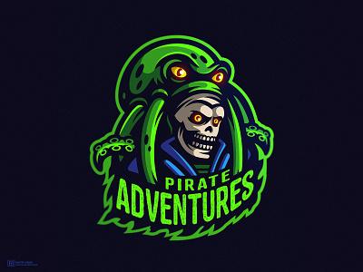 Pirate Adventures illustration mascot logo 2d art sailor skeleton skull pirates of the caribbean octopus pirate