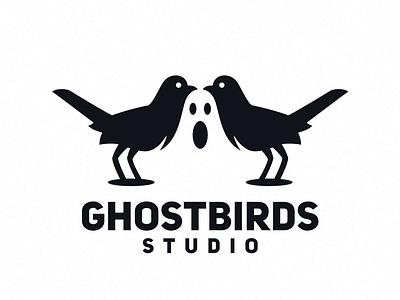 Ghostbirds 2d art bird logo dmitry krino birds horror bird ghost
