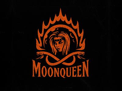 MoonQueen mascot moon logo clothing apparel dmitry krino moon crown fire queen print merch