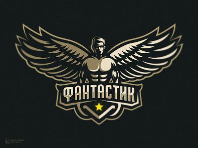 Фантастик dmitry krino brand apparel logo sports logo wings 2d mascot star athlete sport gym muscle man man angel