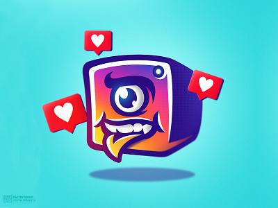 Insta Monsta 2d nft art nft esport mascotlogo mascot angry smile eye monster vector logo icon instagram post instagram