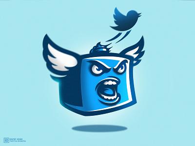 Twitta Monsta poop dmitry krino esportslogo mascotlogo mascot character mascot bird wings box monster twitter